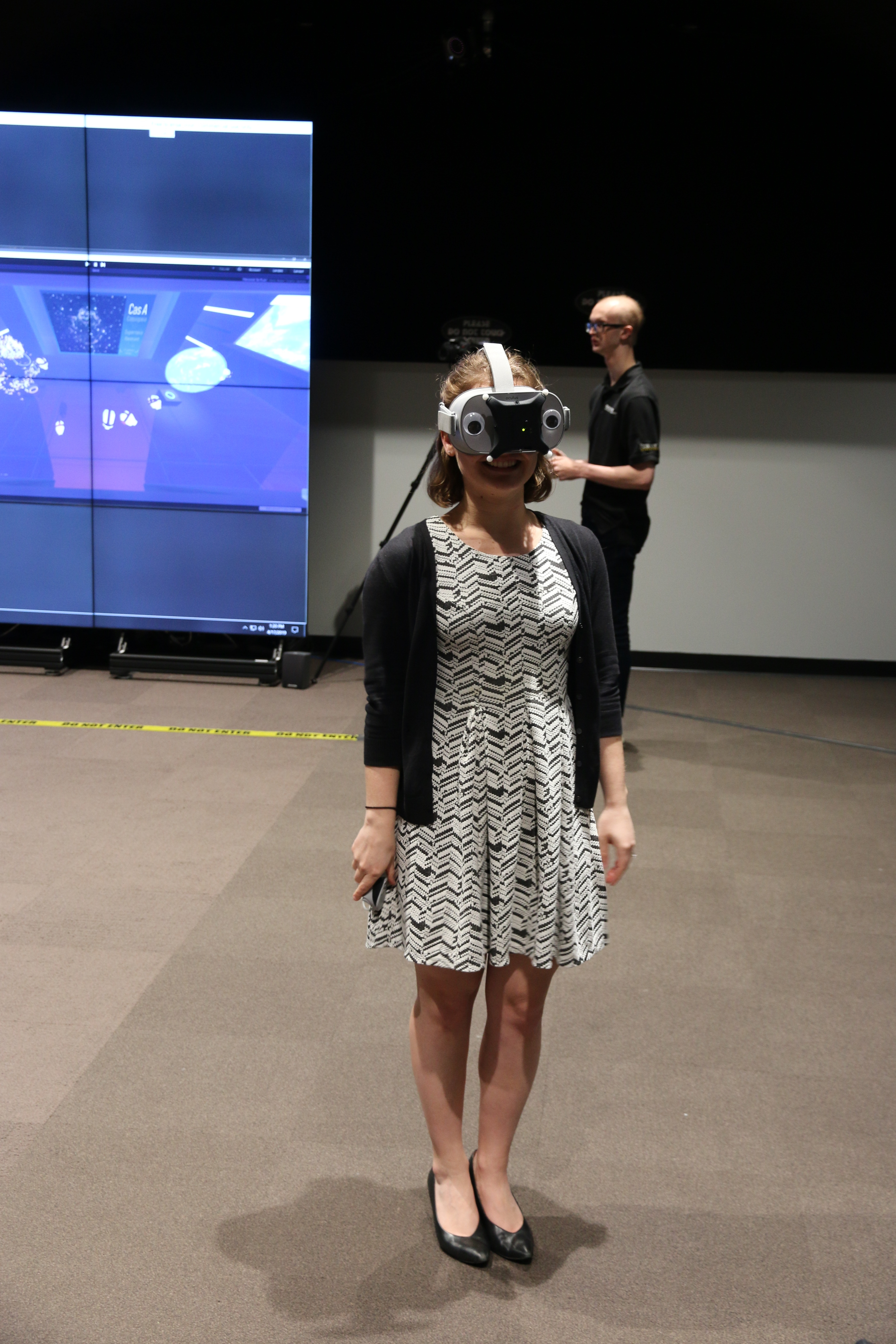 A user trying out the new collaborative virtual reality environment, The Forget