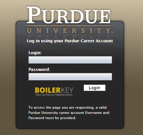 Screenshot of the CAS portal that on Oct. 30 will require BoilerKey, Purdue's version of two-factor authentication.