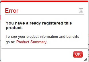 Already REgistered this product.