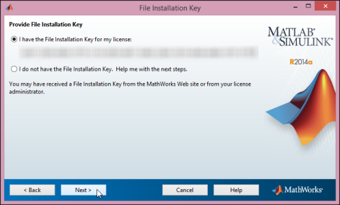 Enter the File Installation Key