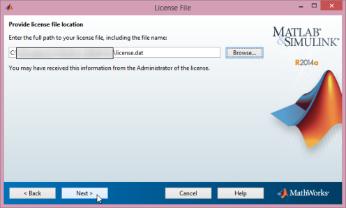 Enter the license file location